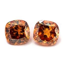 Cojín de corte de diamante moissanites 1ct color Champagne, aretes de piedras preciosas para joyería haciendo