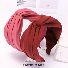 Women Knotted Cross Hairband Solid Color Fashion Elastic Hai