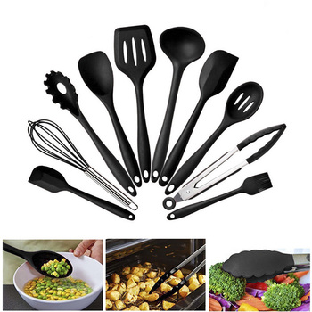 10 Silicone Kitchenware Non-stick Cookware Cooking Tool Spatula Ladle Egg Beaters Shovel Spoon Soup Kitchen Utensils Set 1