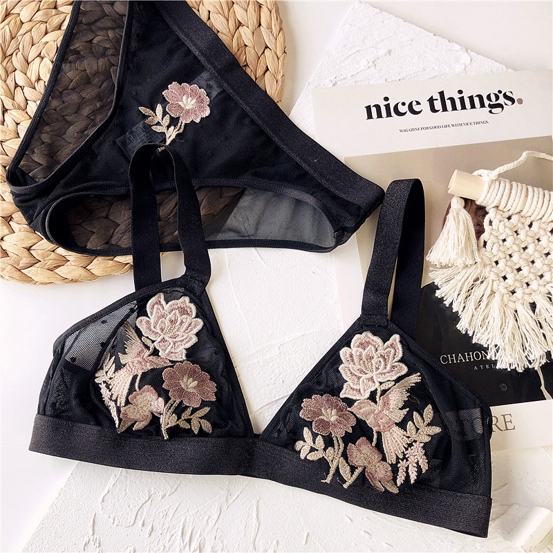 Wriufred Ultra-thin bralette panties suit bird flower embroidery lingerie sexy unbound bra set wire free triangle cup underwear