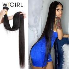 Wigirl em linha reta 28 30 32 40 Polegada remy tecer cabelo brasileiro feixes de cabelo humano cor natural 100% extensão do cabelo humano