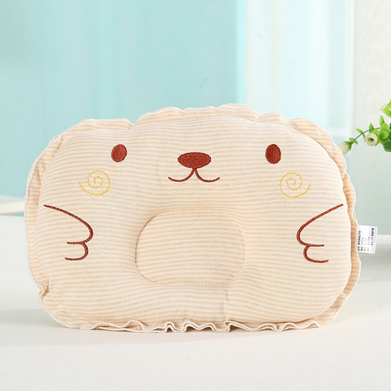 Baby Kids Pillows Striped Embroidery Head Protection Cushion Pillow Animal Printed Cotton Newborn Pillow Sleep Positioner