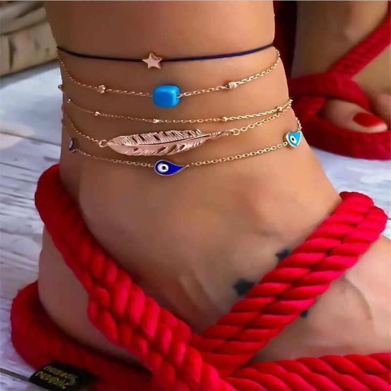 Богемский Большой перо браслет на лодыжку звезда браслеты шикарные капли воды золото цвет куб смолы браслеты цепь для женщин Свадебные украшения