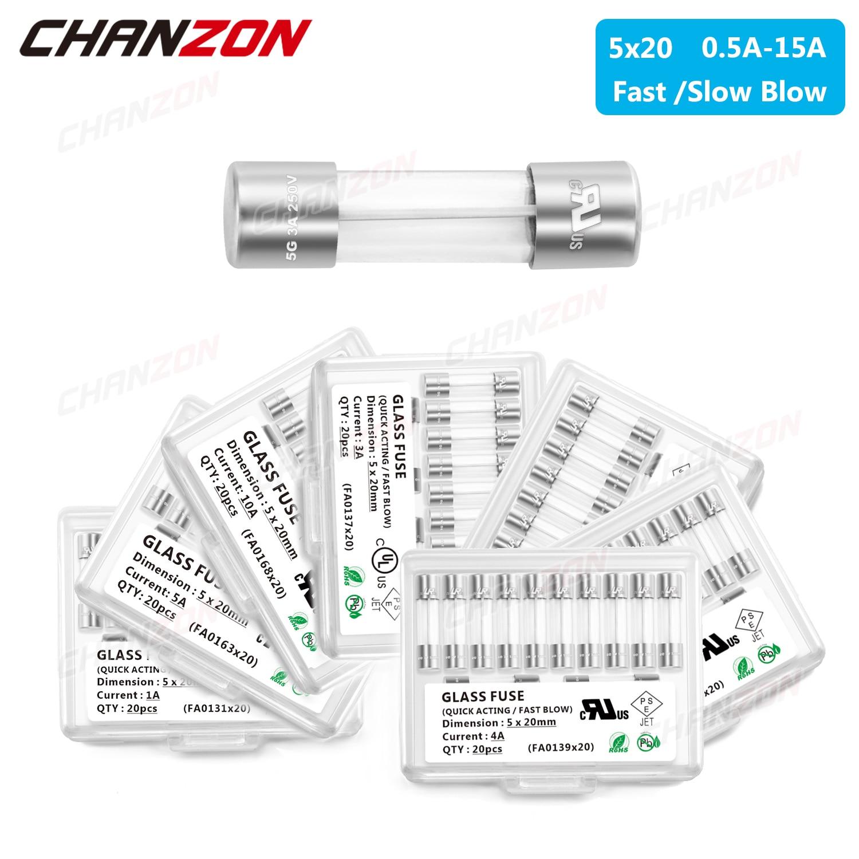 20pcs 5x20 Cilindro Tubo de Vidro Fusível Rápido Golpe Lento 5X20mm 0.5A 1A 2A 3A 4A 5A 6A 6.3A 8A 10A 12A 15A 250V 125V 12V para Microondas