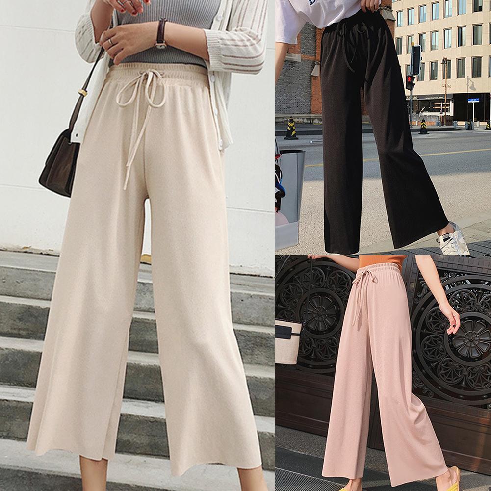 Solid Color Loose High Waist Casual Pants Women  Chiffon Wide-leg Plus Size Pants