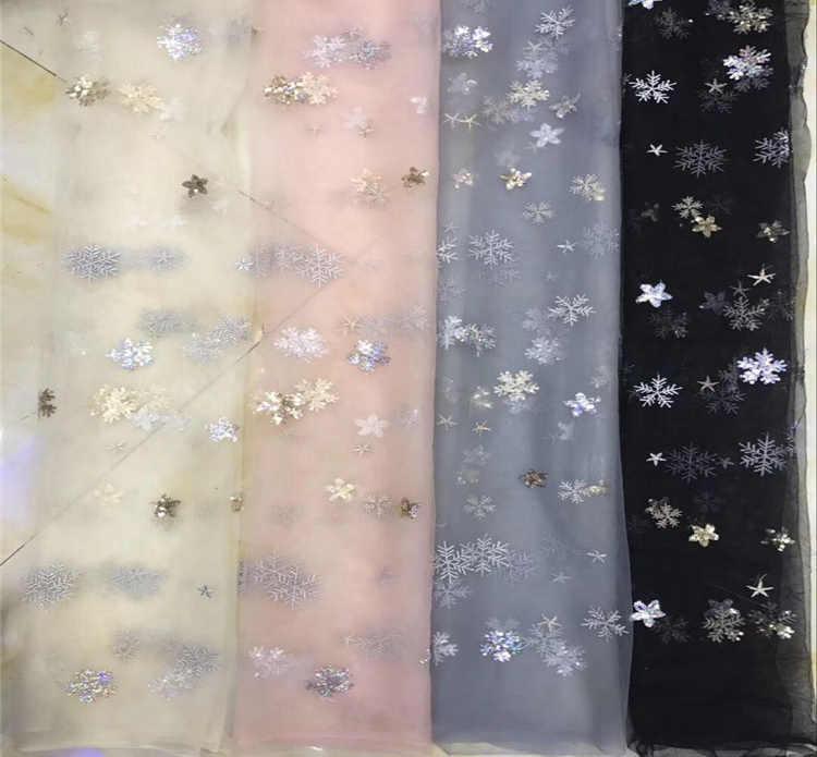1 YARD Star Snowflake sequins ปักลูกไม้ผ้า Tulle ฤดูร้อนแอฟริกันผ้าสำหรับสาวงานแต่งงานชุดเย็บสุทธิผ้า