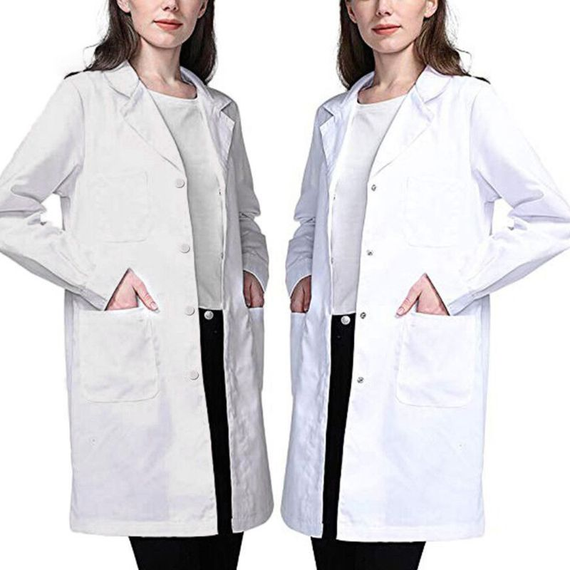Womens Single Breasted Lab Coat Medical Doctor Blouse Student Scientific Nurse Cosplay Notched Lapel Collar Jacket With Pockets