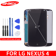 цена на Sinbeda 100% Guarantee For LG Google Nexus 4 Optimus LCD For LG E960 LCD Display Digitizer Touch Screen with Frame Replacement $