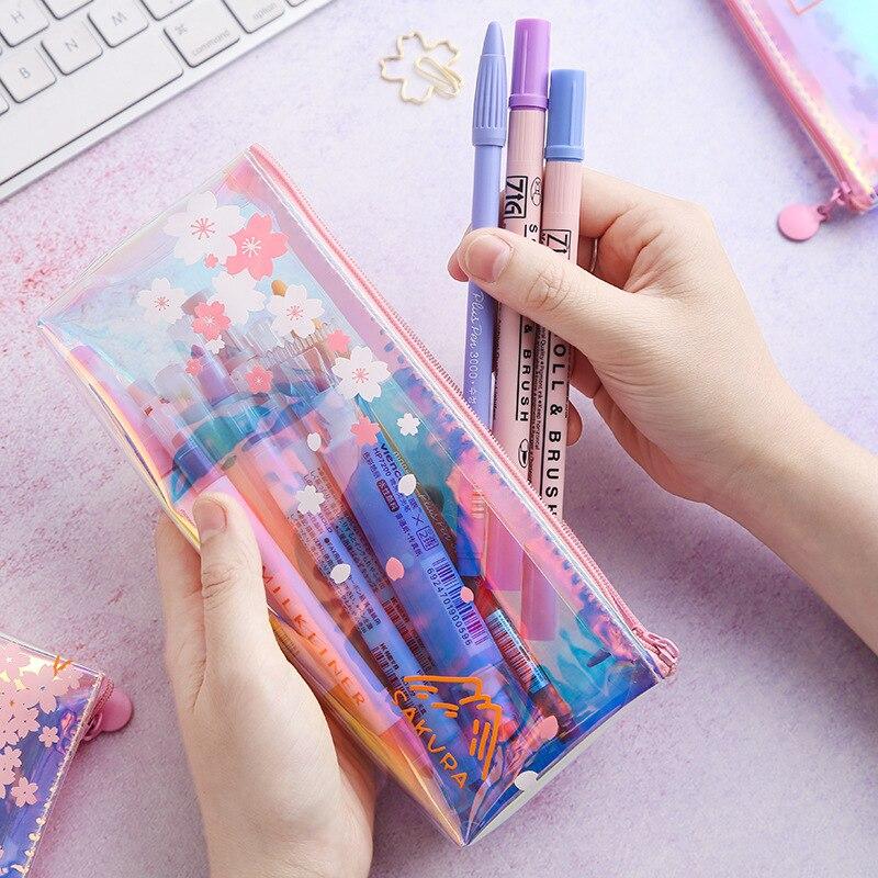 Laser Cherry Blossom Pencil Bag Aesthetic Pink Girl Heart Receiving Bag Simple Transparent Pencil Bag