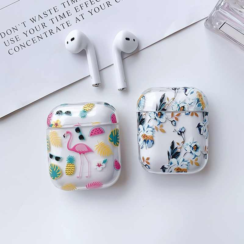 Strawberry Flamingo Flower Printing Plastic Case Earphones For Apple Airpods Bluetooth Wireless Earphone Protective Cover Box