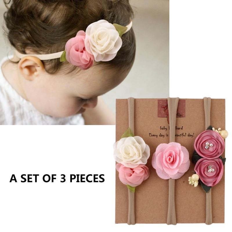3PCS Newborn Kids Girls Toddler Flower Headband Hair Baby Accessories Headwear A