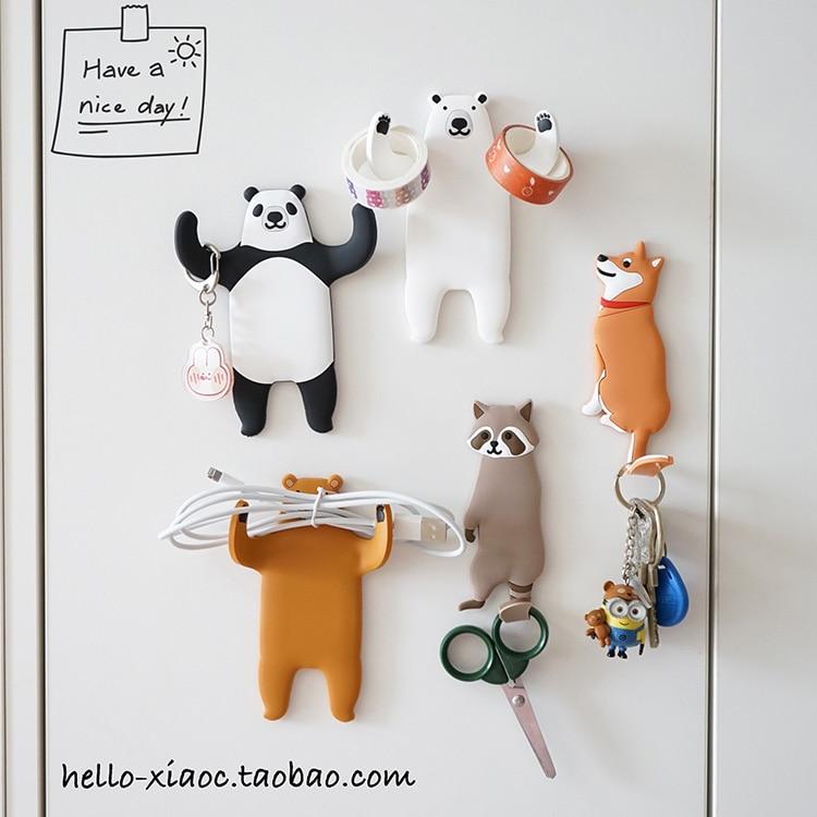 1pc Animal Fridge Hook Key Wall Crochet Holder Removable Kitchen Hooks Home Decor Key Holder Wall Can Washed Holder Wall Hook