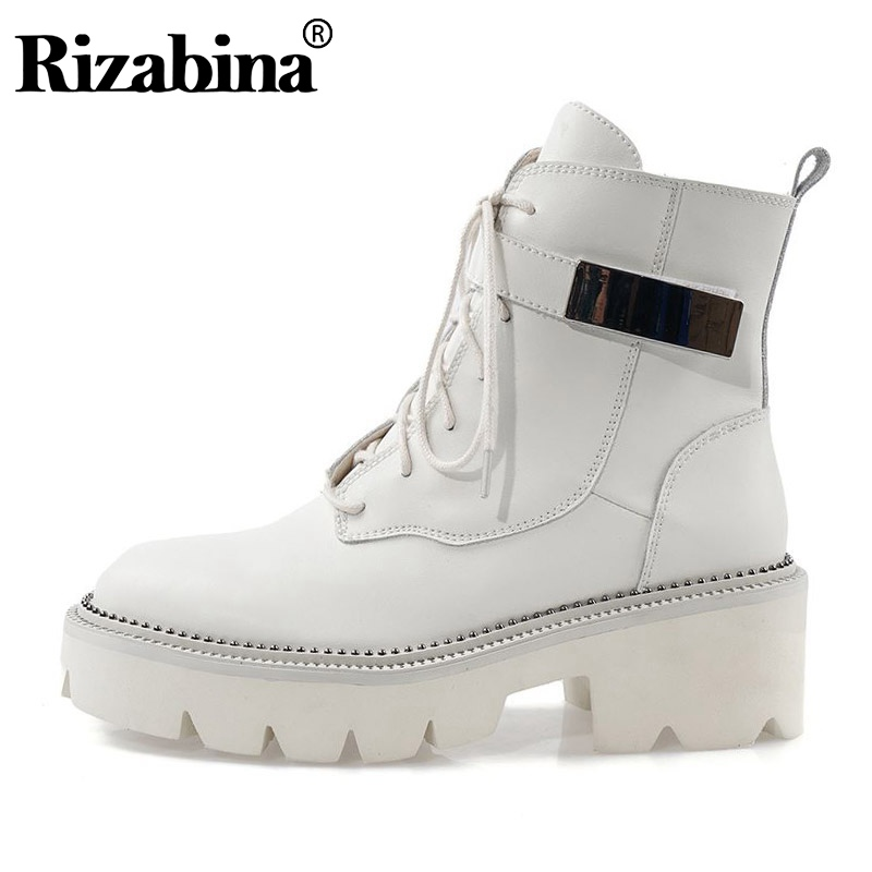 Women Genuine Leather Ankle Boots Women Thick Sole Zipper Round Toe Shoes Cross Strap Leisure Winter Shoes Women Size 34-42