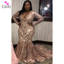 Plus Size Prom Dresses 2019 Long Evening Gowns Plunging V Neck Long Sleeves Mermaid Prom Gowns Sparkly Sequine Party Dress CP155