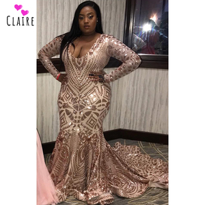 Image 1 - Plus Size Prom Dresses 2019 Long Evening Gowns Plunging V Neck Long Sleeves Mermaid Prom Gowns Sparkly Sequine Party Dress CP155