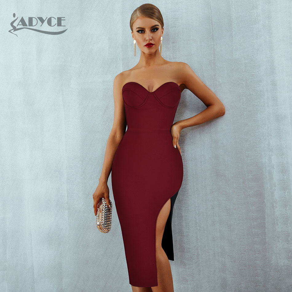 Adyce 2020 New Summer Women Bodycon Club Bandage Dress Sexy Sleeveless Strapless Wine Red Celebrity Evening Runway Party Dress