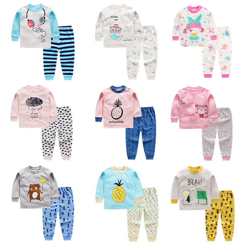Children's   Pajamas     Sets   Autumn Cotton Long Sleeved 2Pcs Baby Girls Clothing Suit Cartoon Toddler Boys Sleepwear Pyjamas Kids