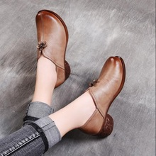 2019 Autumn new fashion slip on Woman shoes Genuine Leather Work shoes Mother comfortable Casual Shoes 2018 autumn new mother casual shoes work cloth shoes women flat antiskid comfortable fashion sneakers shoes plus size 42