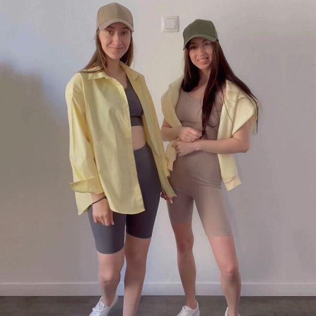 GCAROL Summer Women 2 Pcs Sets Sexy Sport T-shirt And Bike Shorts Legging Running Fitness Yoga Stretch Tees Bodybuilding Pants 3