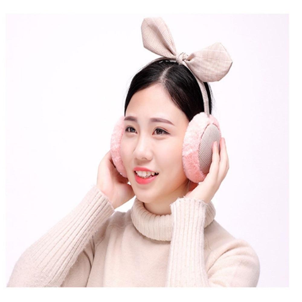 New 2019 Fashion  Korean Ladies Earmuffs Plaid Bow Warm Earmuffs Women Girl Fur Winter Ear Warmer Earmuffs Comfortable