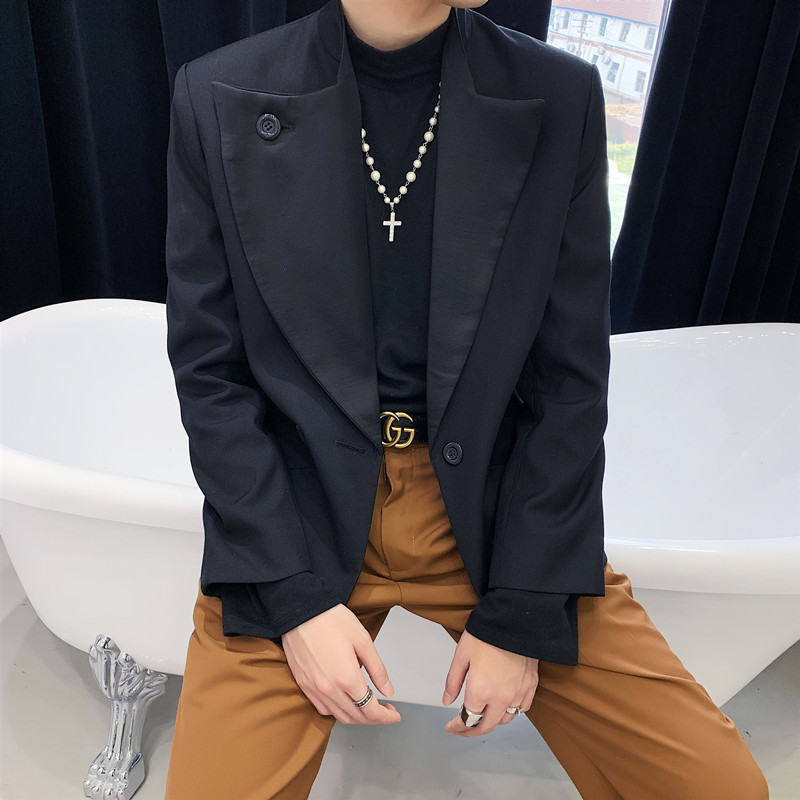 Japan Streetwear Vintage Fashion Short Blazer Coat Outerwear Men Asymmetry Collar Loose Casual Single Button Suit Jacket Male