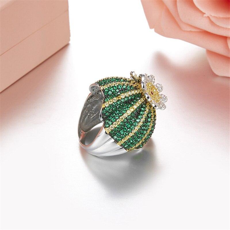 Mignon 925 en argent Sterling vert Cactus bague pavé vert Zircon pierre anneau mobile fleur pétale femmes fête bijoux - 4