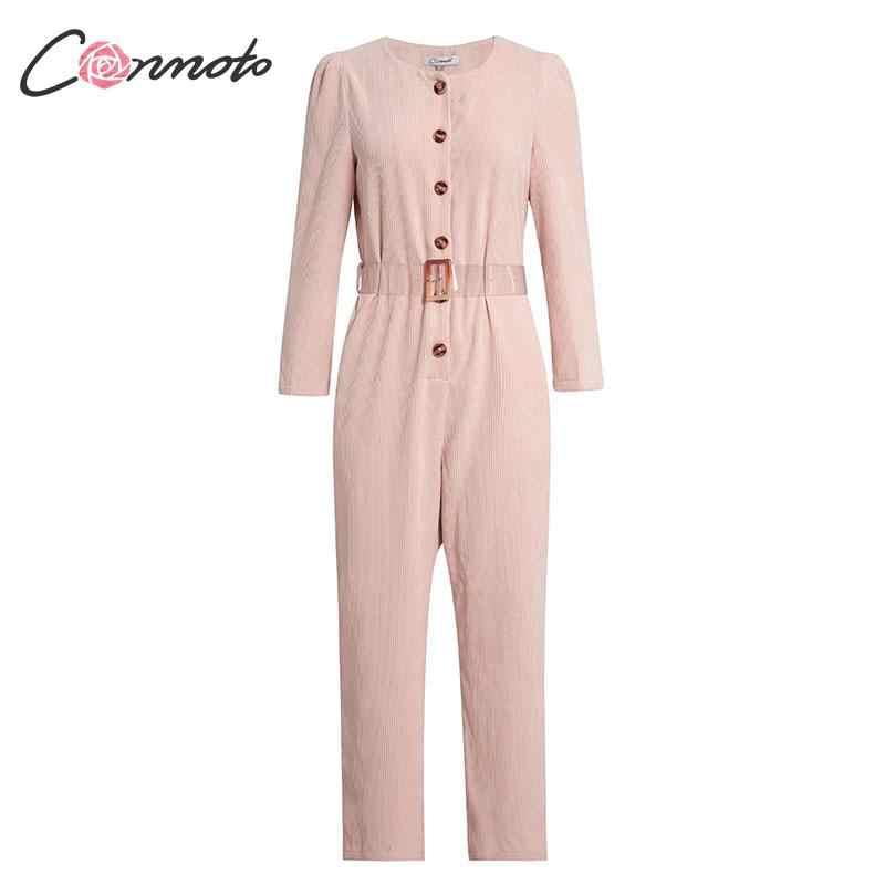 Conmoto Autumn Winter 2019 Corduroy Light Pink Jumpsuits Romper Women High Fashion Button Jumpsuit Female Casual Overalls