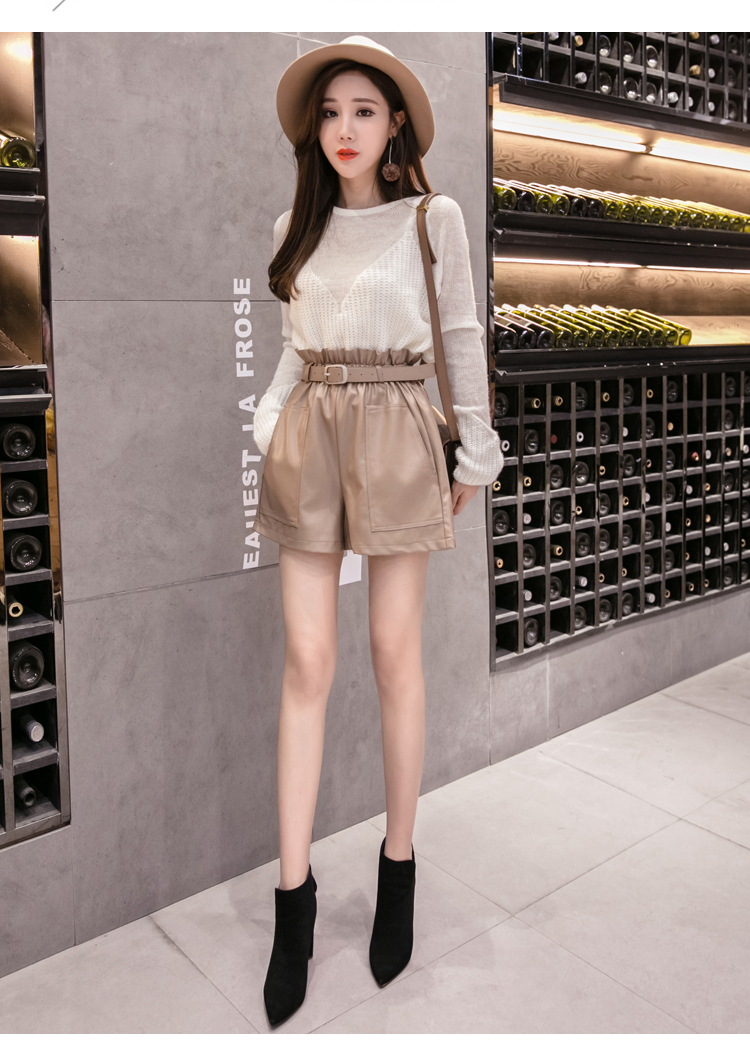 Elegant Leather Shorts Fashion High Waist Shorts Girls A-line  Bottoms Wide-legged Shorts Autumn Winter Women 6312 50 48