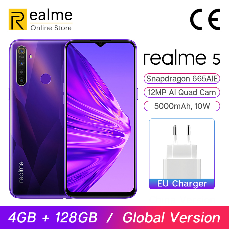 Global Version Realme 5 4GB 128GB 6.5'' Moblie Phone Snapdragon 665 12MP Quad Cam Cellphone 5000mAh VOOC 10W Fast Charger