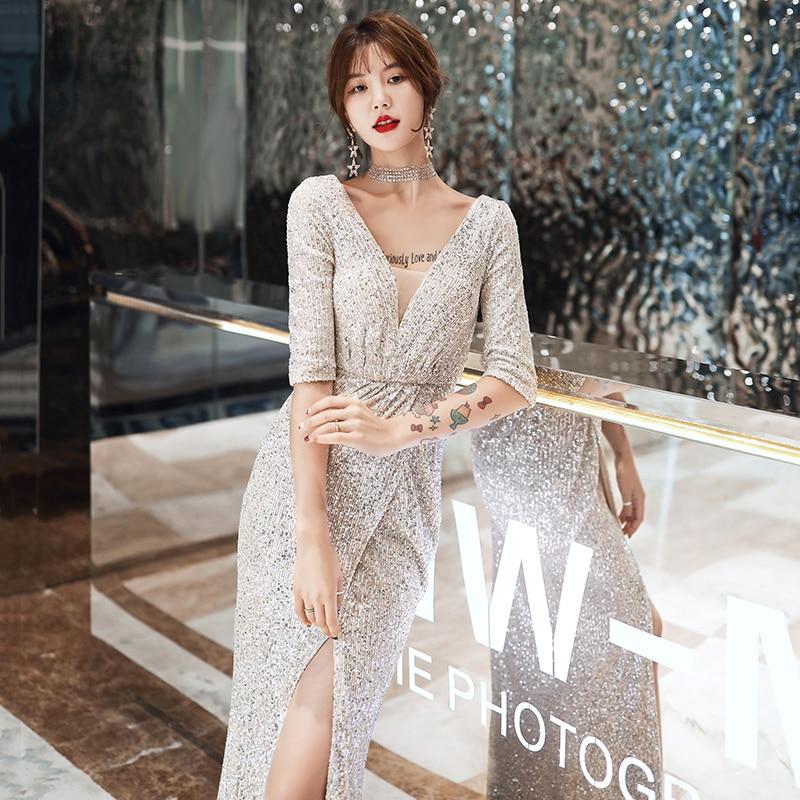 Evening Dresses Silver Shining Sequined Half Sleeve Formal Gowns Mermaid Long Split Elegant Evening Dress Robe de soiree K064