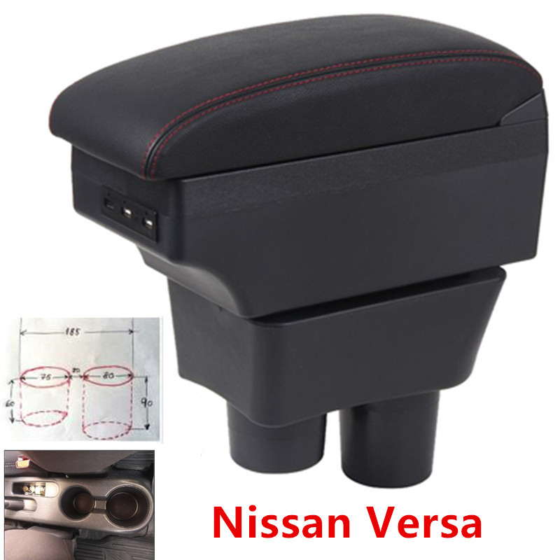 For Nissan Sunny Versa Armrest Box USB Charging Heighten Double Layer