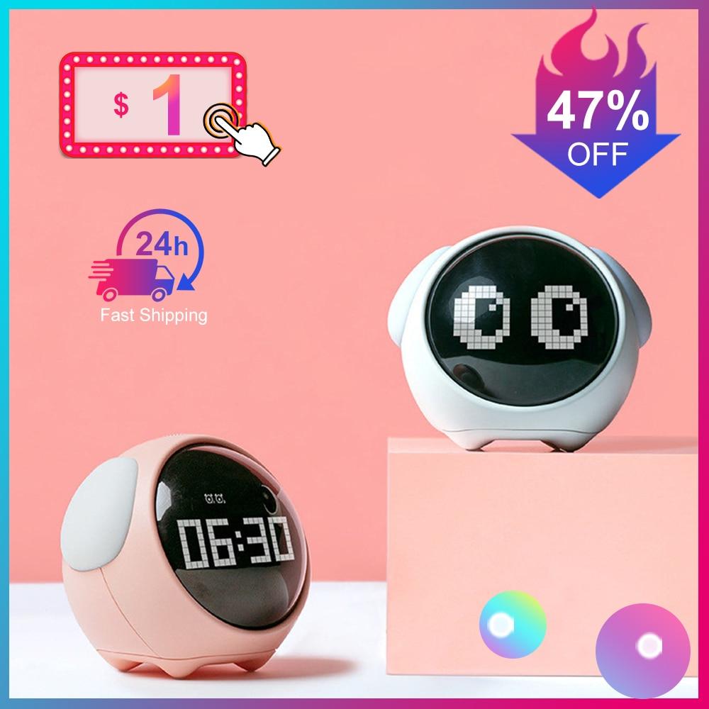 Cute Night Light Alarm Clock LED Smart Kids Digital Clock Home Decor For Children Room Sleep Trainer Lamp Clocks Kids Xmas Gift