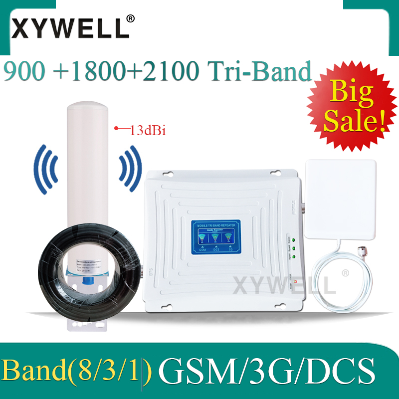 900/1800/2100mhz Tri-Band 4G Cellular Amplifier 2g 3g 4g Signal Repeater 900/1800/2100 GSM DCS 3G Mobile Network Signal Booster