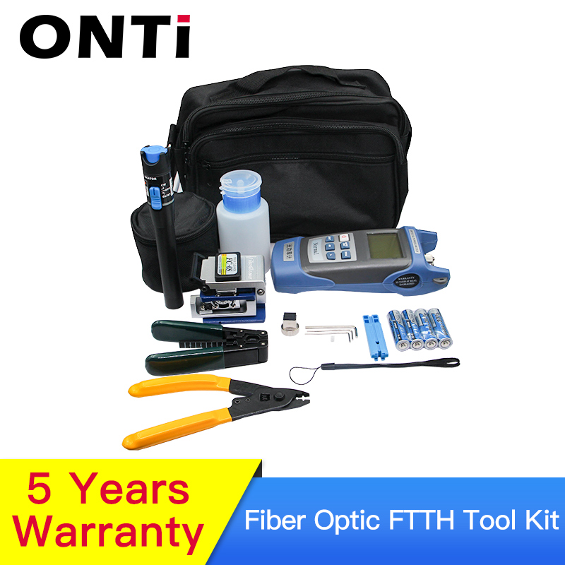 12pcs/Set  Fiber Optic FTTH Tool Kit With Optical Power Meter 30km Visual Fault Locator  FC-6S Fiber Cleaver Cable Wire Stripper