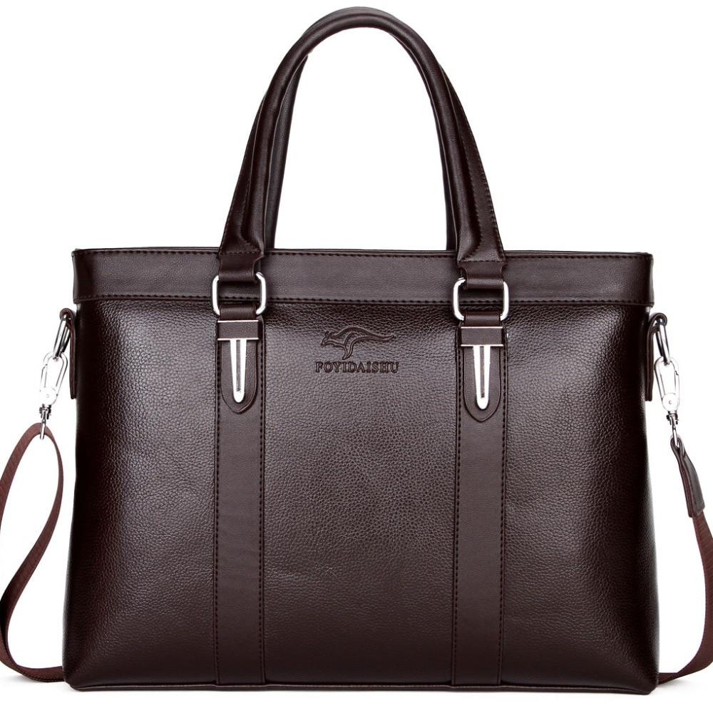 Luxury Brand Kangaroo Briefcase Men Top PU Leather Handbag Man Business Office Messenger Bag Solid Computer Laptop Shoulder Tote