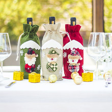Champagne Bottle Bag Christmas Hessian Bottle Doll Sack Santa Claus Elf Wine Bottle Cover For Dinner Table Decoration(China)