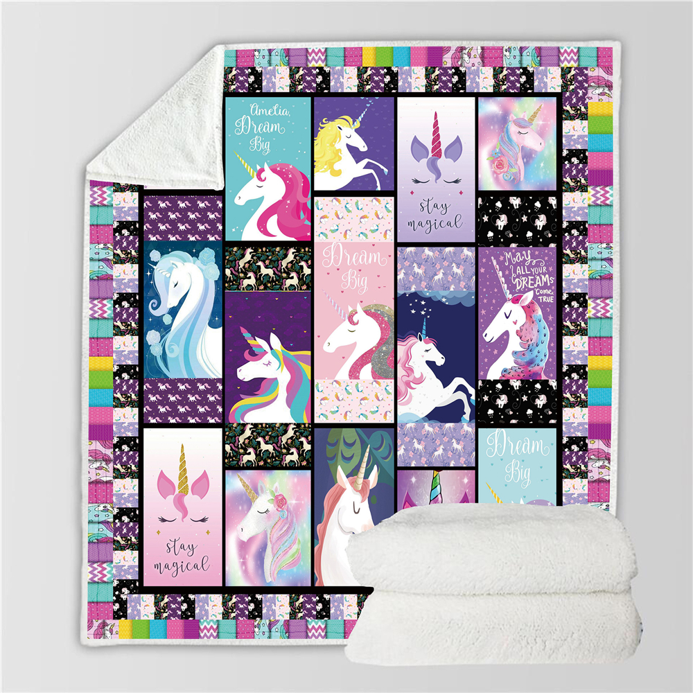 Cartoon Rainbow Unicorn Blanket Soft Flannel Bed Cover Throw Girls Christmas Gift Winter Warm Fleece Blankets And Throws Sofa
