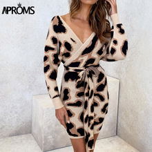 Aproms Vintage Leopard Print Ribbed Knitted Bodycon Dress Women Autumn Sexy Criss Cross Batwing Sleeve Tie Up Winter Dress 2019 criss cross back ribbed tee