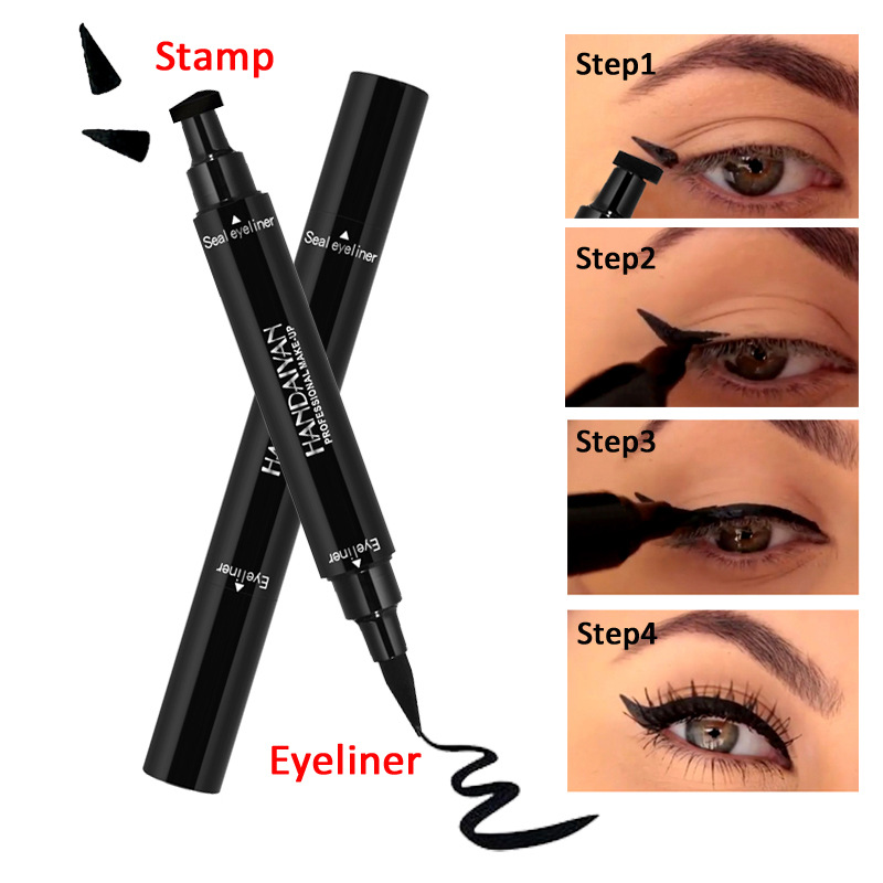 2 in 1 Double-headed Liquid Eyeliner Pen Stamp Super Slim Gel Felt Tip High Pigment Black Waterproof Smudgeproof Long Lasting image