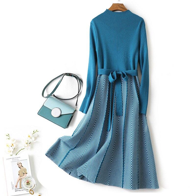 Outono feminino vestido de malha gola alta cordão faixas swing dresses senhoras manga longa listras na altura do joelho a linha vestido fino