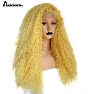 Image 3 - Anogol Partie Libre Rouge/Jaune Longue Crépus Bouclés Perruques pour Les Femmes Blanches Mélangé Blond Brun Synthétique Avant De Lacet Perruques pour Cosplay