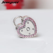 Valentine's Day Lock Your Promise Clip silver 925 heart charms fit 925 sterling silver bracelets DIY fine jewyuer jewerly KT088(China)