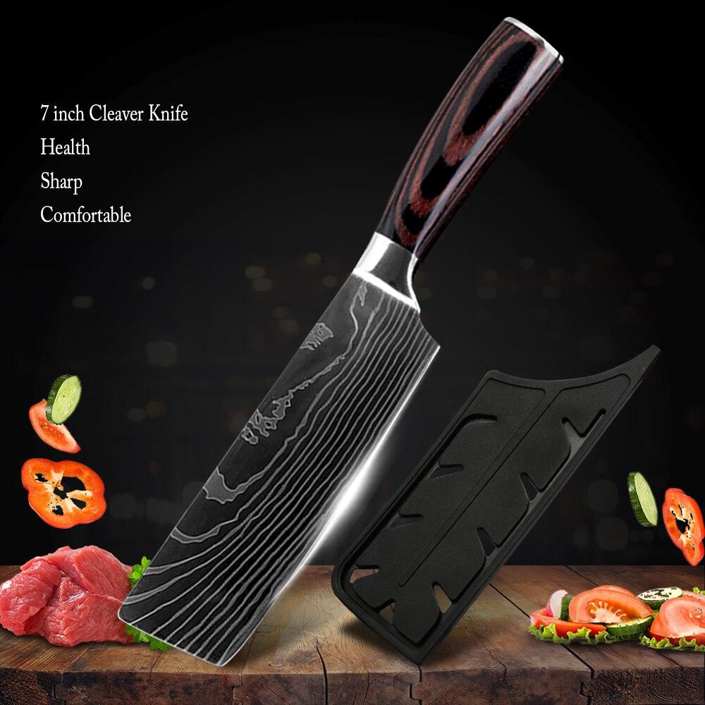 "Zemen Cleaver Nakiri Knife 7"" inch German High Carbon Stainless Steel Chopper Knife Kitchen Restaurant Comfotable Handle Cutter"