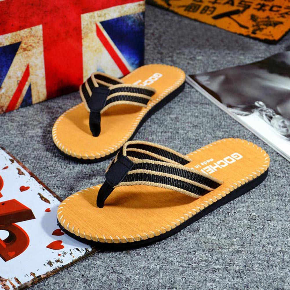 Men's Shoes For 2019 New Flip Flops Men High quality Men Summer Stripe Flip Flops Shoes Sandals Male Slipper Flip-flops#25