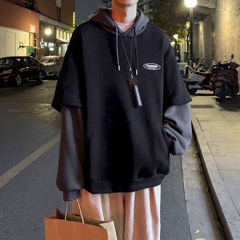 Hoodies Women Sweatshirt Couple Autumn/winter Fake Two-piece Hooded Pullover Student Korean Style Loose Top Velvet Thick Jacket 5