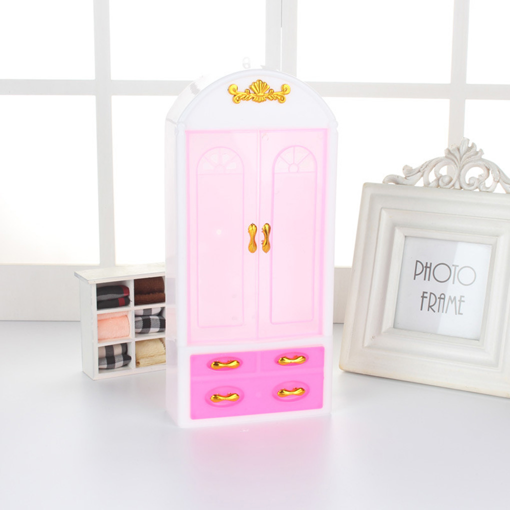 Dollhouse Wardrobe Plastic Cabinet Bedroom Miniature Furniture Doll House Accessories Girls Toys