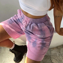 Dye-Shorts Sweatpants-Pockets Plus-Size Summer Women Ladies Printed High-Waised Letter