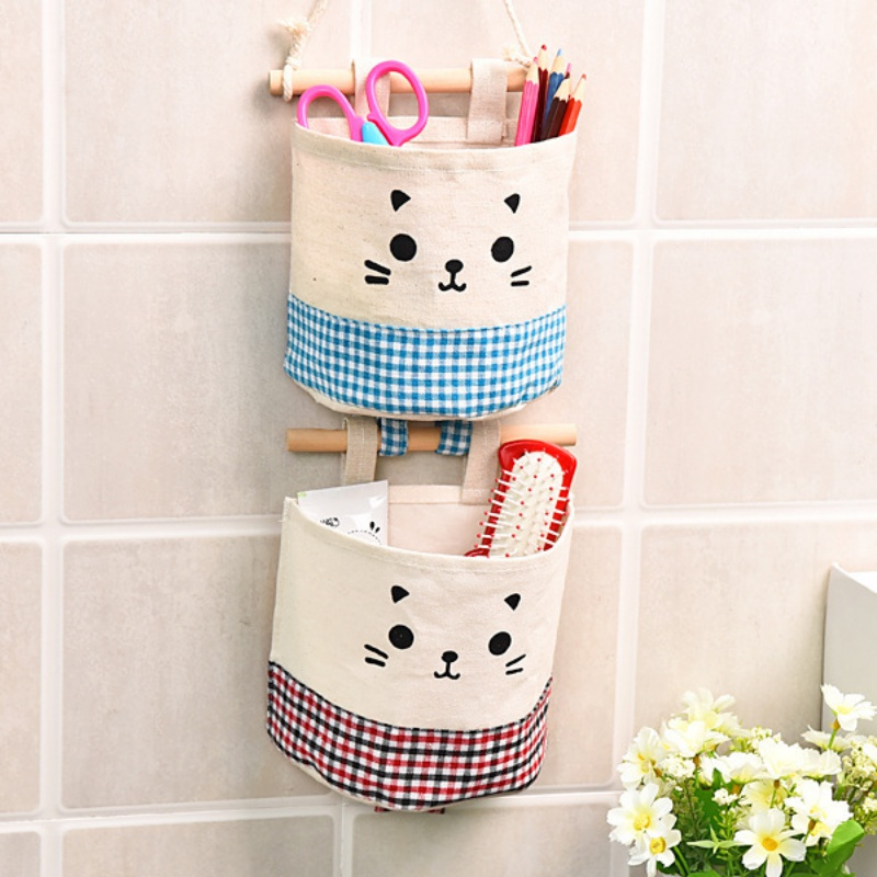 Cotton Linen Fabric Wall Mounted Storage Bag Wall Hanging Organizers Waterproof Pocket for Home Bathroom Office