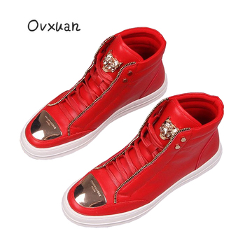 OVXUAN 2020 Fashion Ankle Boots Men Trend Luxury Brand Leather Boots Spring Autumn Mens Hip Hop Designer Shoes High Top Sneakers mycolen new brand high quality spring autumn shoes men super warm leather boots fashion high top man ankle boots askeri bot