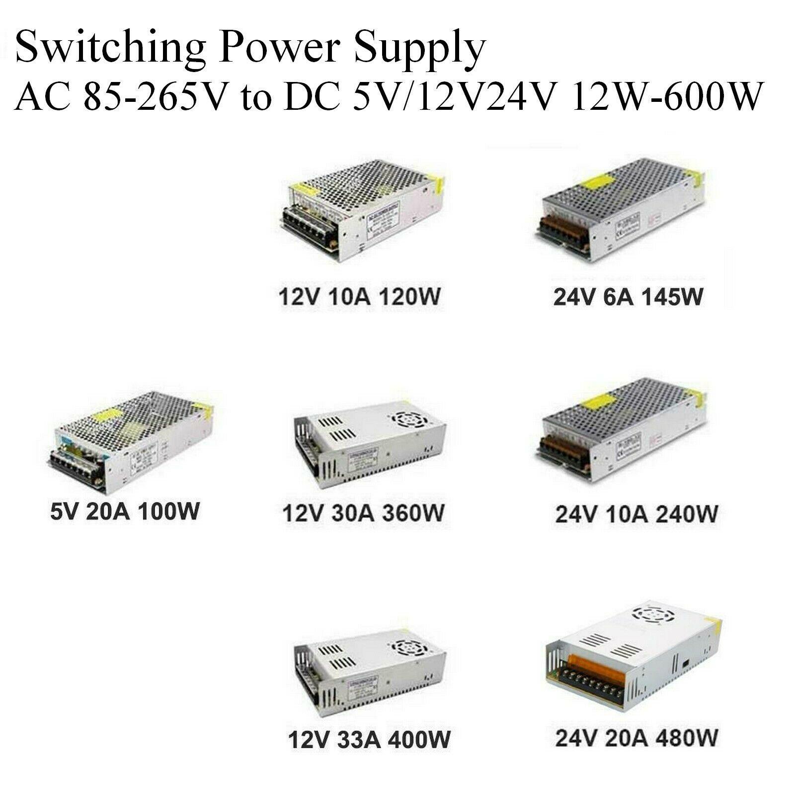 Осветительные трансформаторы DC 5 в 12 В 24 в 36 В адаптер питания 5 12 24 36 В 1A 2A 3A 5A 6A 8A 10A 15A 20A светодиодный Светодиодный драйвер